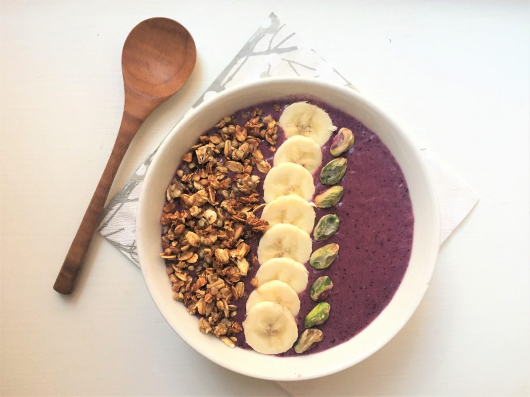 smoothie bowl with homemade granola